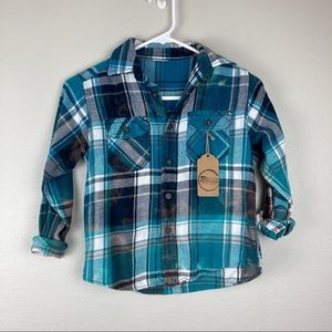Teal, blue and navy button front bleached flannel